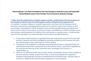 Employer Exemptions to the Families First Coronavirus Stimulus Package