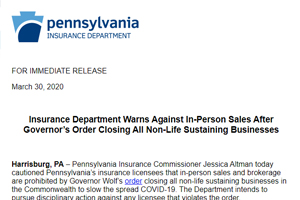 Insurance Department Warns Against In-Person Sales After Governor's Order Closing All Non-Life Sustaining Businesses