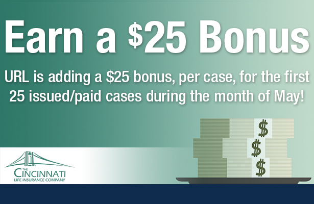 Earn a 25 bonus from URL during the month of May.