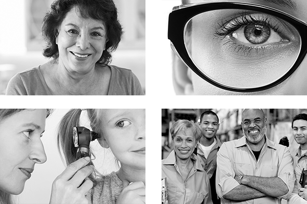 A set of four pictures featuring a senior hispanic woman, a close up of a womans eye with glasses on, a doctor looking in a childs ear, and a group of warehouse workers.